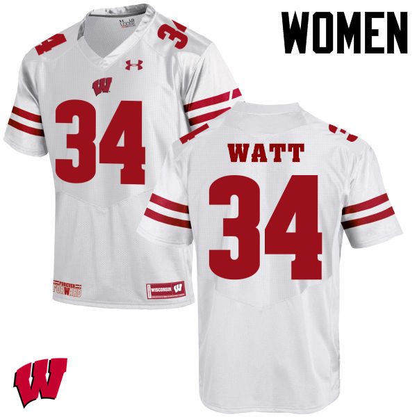 Women Winsconsin Badgers #34 Derek Watt College Football Jerseys-White